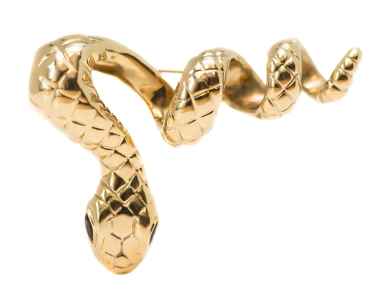 Retro 1950s Serpent Pin, Snake Brooch in 14 Karat Yellow Gold with Rubies For Sale