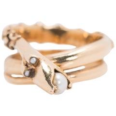 1950s Serpent Ring 14 Karat Yellow Gold with Akoya Pearls