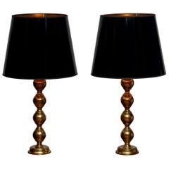 1950s, Set Brass Spherical Extra Large Swedish Table Lamps with Black Shades
