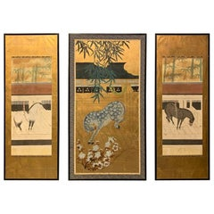 1950s Set of 3 Large Chinese Wall Hanging Framed Gilt Screen Paper Screens