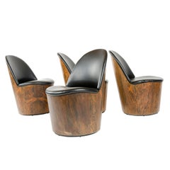 1950s Set of 4 Swivel Lounge Chairs in the Style of Milo Baughman