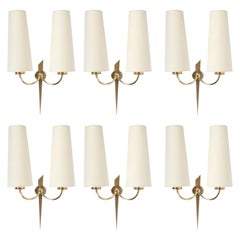 1950s Set of 4 Maison Arlus Gilded Bronze Sconces