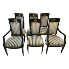 1950s Set of 6 Regency Style Black Lacquered Dining Chairs