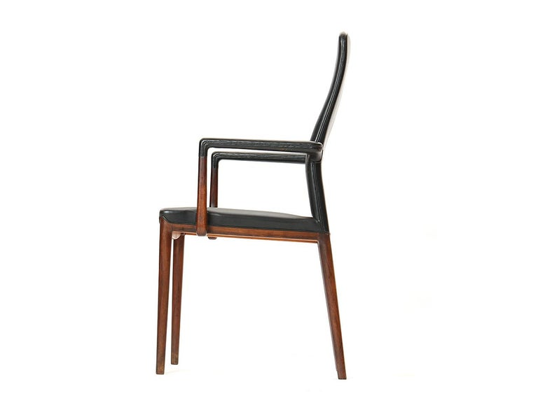 1950s Set of 8 Danish Dining Chairs by Vestergaard Jensen for Peder Pedersen In Excellent Condition For Sale In Sagaponack, NY