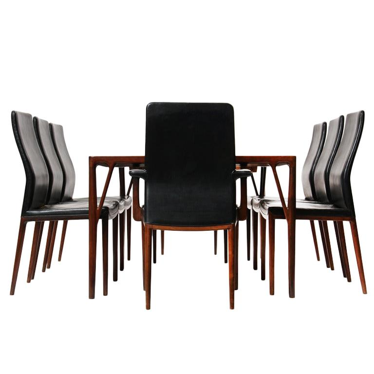 1950s Set of 8 Danish Dining Chairs by Vestergaard Jensen for Peder Pedersen For Sale