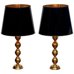 1950s, Set of Brass Spherical Extra Large Swedish Table Lamps with Black Shades
