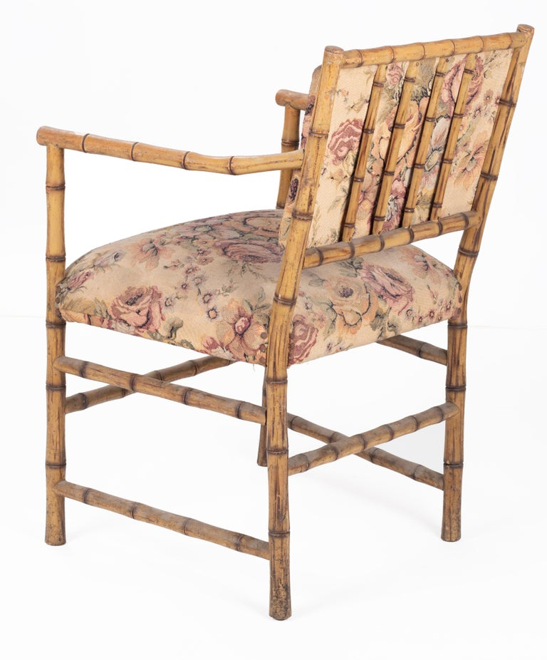 1950s Set of Eight English Bamboo Upholstered Armchairs In Good Condition For Sale In Malaga, ES