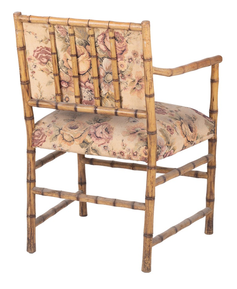 1950s Set of Eight English Bamboo Upholstered Armchairs For Sale 1