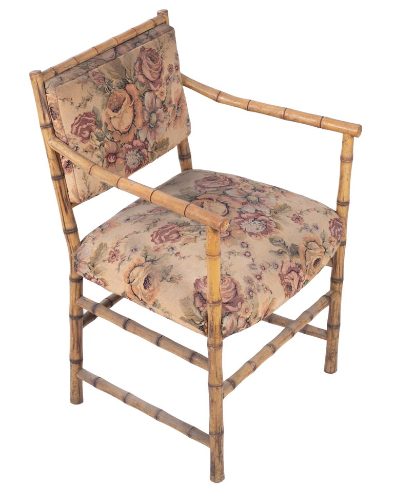 1950s Set of Eight English Bamboo Upholstered Armchairs For Sale 2
