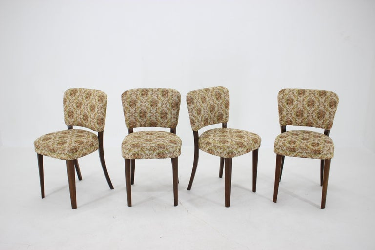 Mid-Century Modern 1950s Set of Four Dining Chairs, Czechoslovakia For Sale