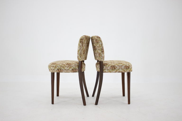 Wood 1950s Set of Four Dining Chairs, Czechoslovakia For Sale