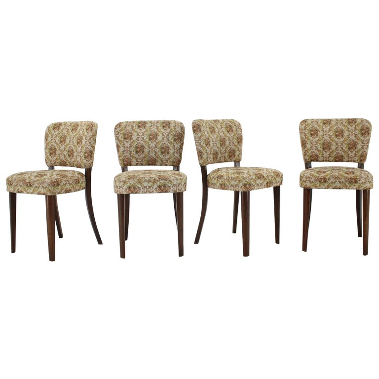 1950s Set of Four Dining Chairs, Czechoslovakia For Sale