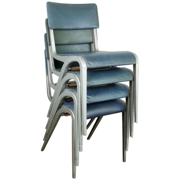 1950s Set of Four James Leonard Esavian ESA Dining/Side Upholstered Chairs For Sale