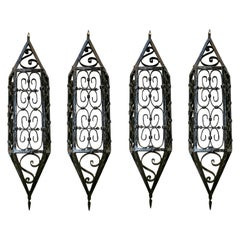 1950s Set of Four Spanish Wrought Iron Wall Lamps Painted in Black