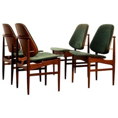 1950s, Set of Four Teak Dining Chairs by Arne Hovmand-Olsen & Jutex
