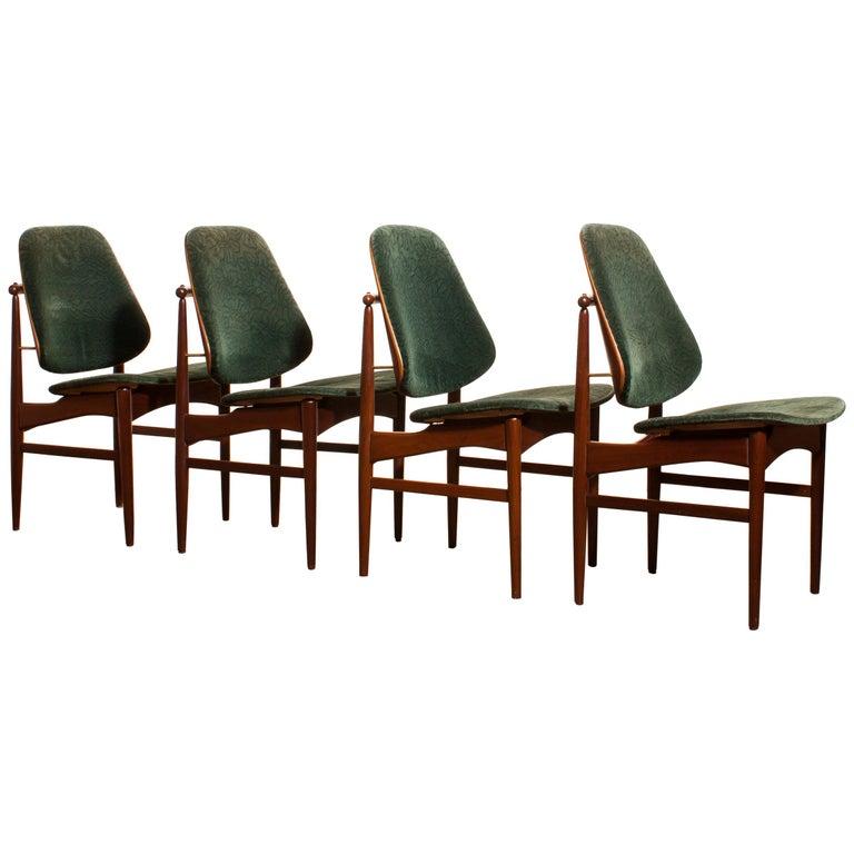 Danish 1950s, Set of Four Teak Dining Chairs by Arne Vodder for France & Daverkosen