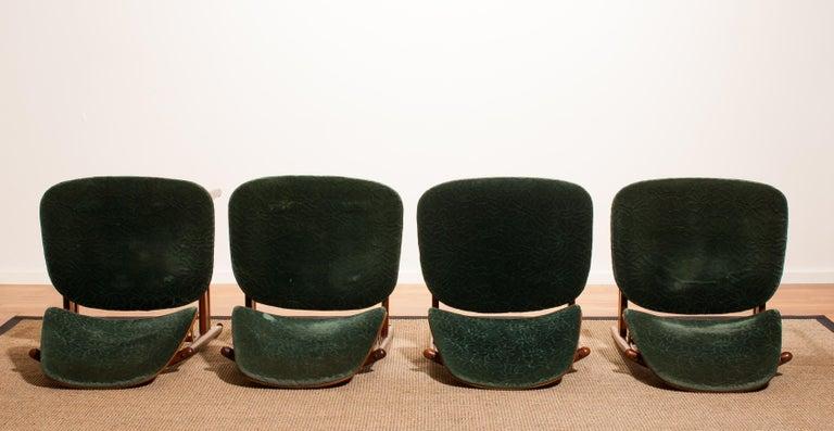 Velvet 1950s, Set of Four Teak Dining Chairs by Arne Vodder for France & Daverkosen