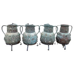 1950s Set of Four Turkish Bronze Vases with Legs