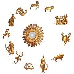 1950s Set of Italian Sunburst Mirror with 12 Depicting Gilt Zodiac Signs