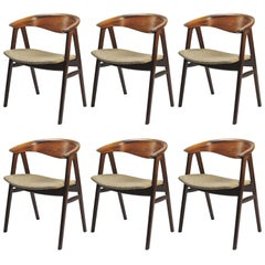 1950s Set of Six Erik Kirkegaard Reupholstered Dining Chairs in Rosewood