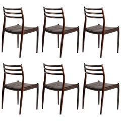 Set of Six Refinished N. O. Moller Rosewood Dining Chairs - Inc. Reupholstery