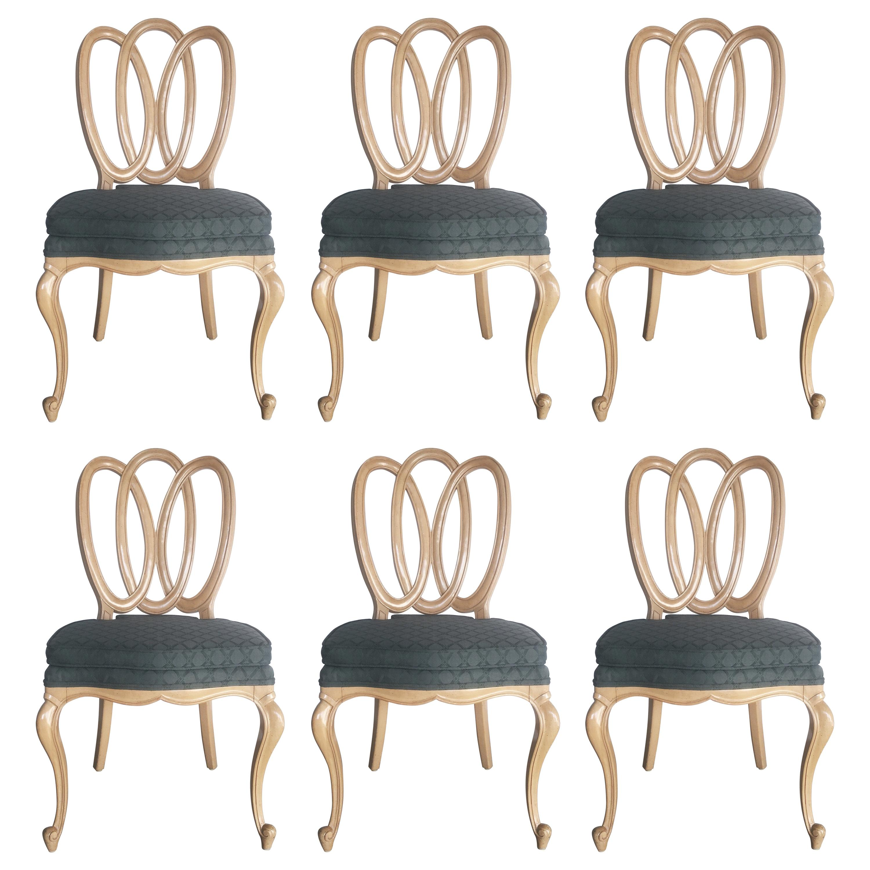 1950s Set of Six Vintage French Provincial Pretzel Ribbon Back Dining Chairs