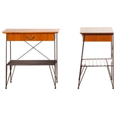 1950s, Set of Teak and Black Metal  Nightstands Bedside Tables