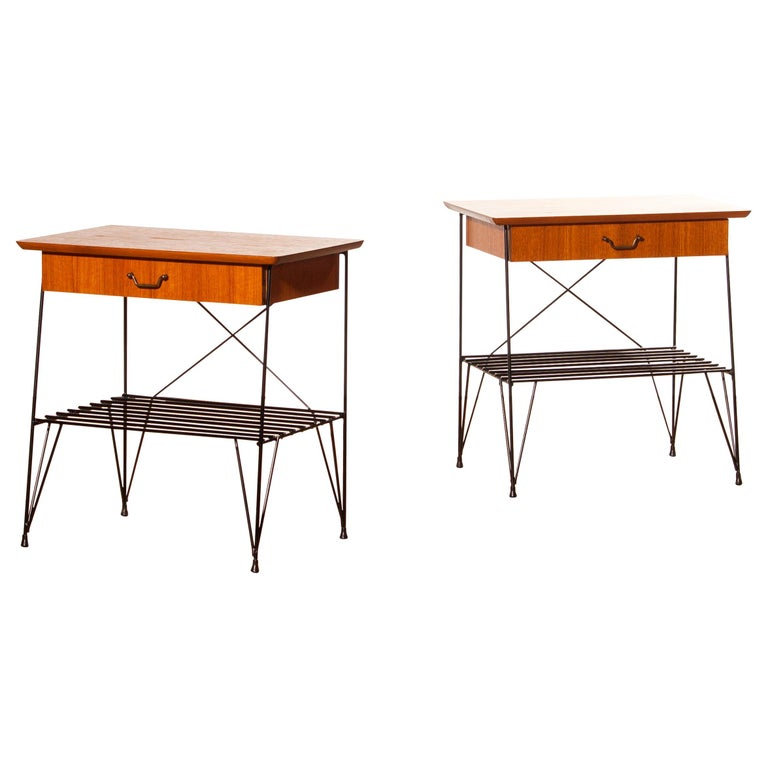 Mid-Century Modern 1950s, Set of Teak and Black Metal Nightstands Bedside Tables