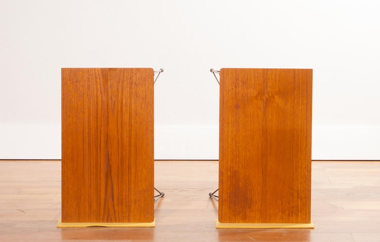 1950s, Set of Teak and Black Metal Nightstands Bedside Tables 1