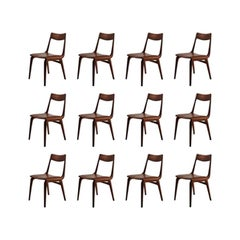 1950s Set of Twelve Reupholstered Alfred Christensen Boomerang Chairs in Teak