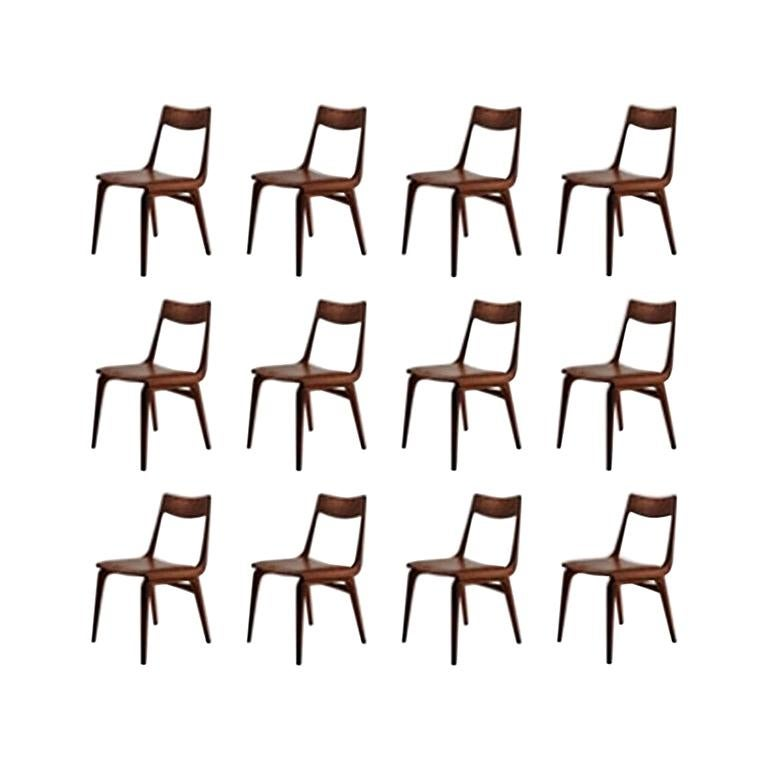 Twelve Danish Refinished Alfred Christensen Teak Dining Chairs Inc. Reupholstery