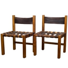 1950s Set of Two American Studio Craftsman Leather Chairs