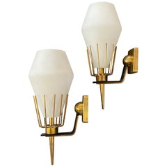 1950s Set of Two Arredoluce Brass and Glass Wall Sconces
