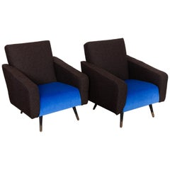 1950s Set of Two Lounge Easy Chairs Designed in Italy