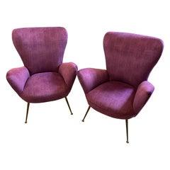 1950s Set of two Mid-Century Modern Purple Velvet and Brass Italian Armchairs