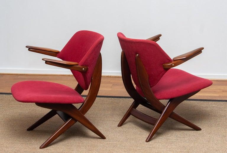 1950s, Set Of Two Teak Lounge / Easy Chairs By Louis Van