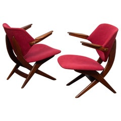 1950s, Set of Two Teak Lounge / Easy Chairs by Louis Van Teeffelen for Wébé