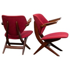 1950s, Set of Two Teak Lounge/Easy Chairs by Louis Van Teeffelen for Wébé