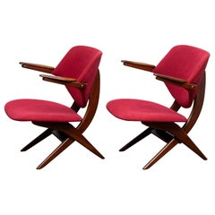 1950s, Set of Two Teak Lounge or Easy Chairs by Louis Van Teeffelen for Wébé