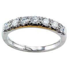 Sieben-Stein-Ehering aus Platin mit Diamanten, 1950er Jahre