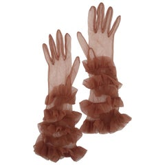 1950's Sheer Nude Long Ruffled Gloves