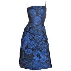 1950s Sher Lee Silk Damask Dress with Watteau Back