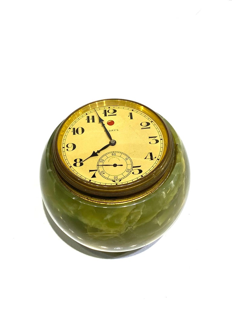 1950s Shreve, Crump & Low Co. Green Onyx Table Clock  For Sale 1