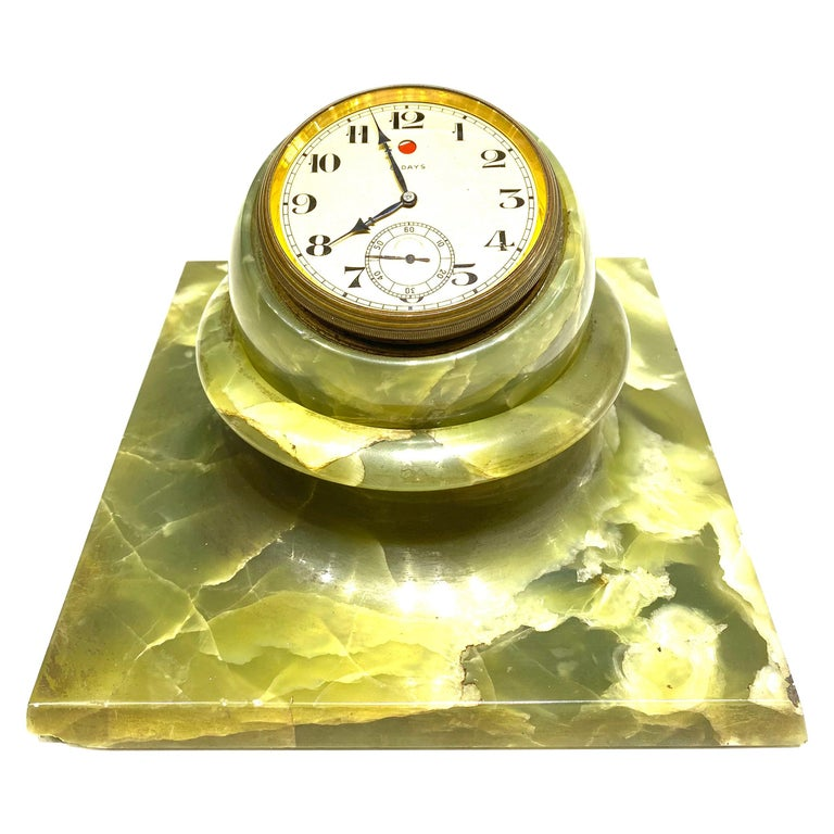 1950s Shreve, Crump & Low Co. Green Onyx Table Clock  For Sale
