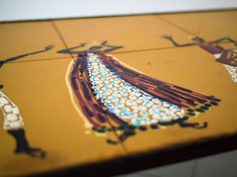 20th Century 1950s Side Table in Wrought Iron and Hand-Painted Ceramic Tiles, Brazil Modern For Sale