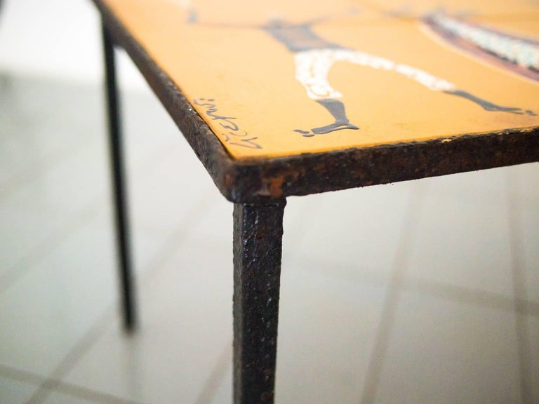 1950s Side Table in Wrought Iron and Hand-Painted Ceramic Tiles, Brazil Modern For Sale 1