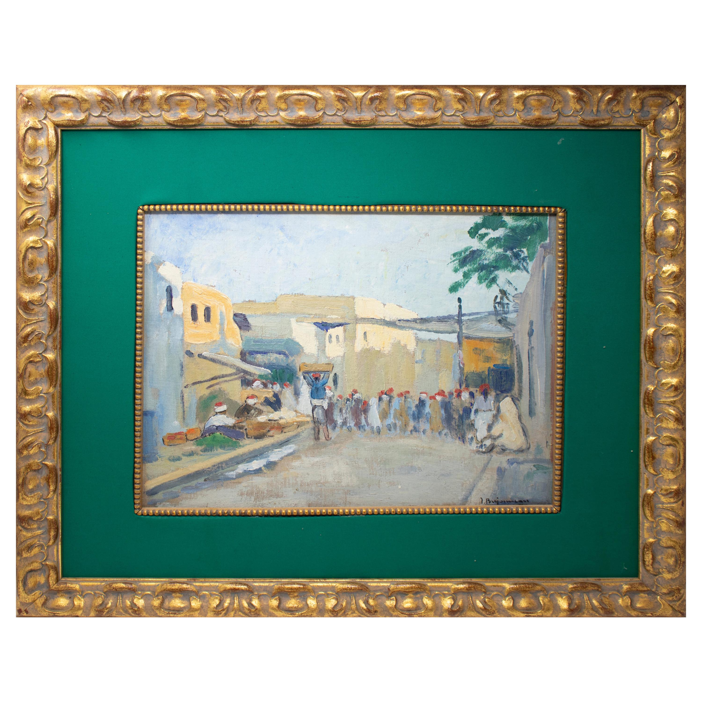 1950s Signed Arab Market Orientalist Oil on Board Painting