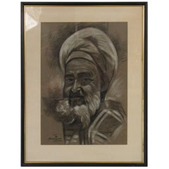 1950s Signed Charcoal Picture of Arabian