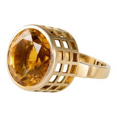 1950s Sigurd Persson Citrine and Gold Ring