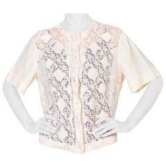 1950'S Cream Silk & Cotton Lace Patchwork Top With Antique Mother Of Pearl Butt